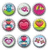 Bottlecaps del día de tarjeta del día de San Valentín - iconos Fotografía de archivo libre de regalías