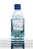 Bottled. Bottle of water with reflection Stock Photo