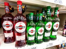 Bottled alcoholic beverages martini ready for sale royalty free stock images