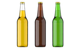 Bottled beer yellow, green and browncolors or beverage or carbonated drinks. Studio 3D render, isolated on white. Bottled beer yellow, green and brown colors or Stock Images