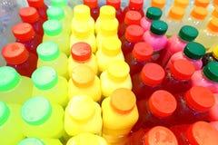 Bottled drinks on sale. Colourful plastic bottled drinks on sale in a street market Royalty Free Stock Image