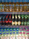 Bottled drinks. Variety choices of bottled drinks in a chiller Stock Photos