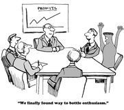 Bottled Enthusiasm. Business cartoon about bottling enthusiasm Stock Photo