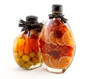 Bottled fruits. On white background Stock Photos