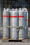 Bottled gas cylinders. Awaiting delivery stock photography