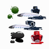Bottled ink and fountain pen. Vector set  Royalty Free Stock Image