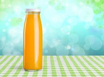 Bottled juice. Background beverage blank breakfast bright citrus stock photography