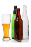 Bottled lager on white Stock Images