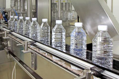 Bottled mineral water production line Stock Photo