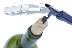 Isolated Wine Bottle & Bottle Opener Stock Photography