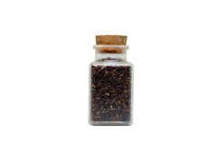 Bottled Rice, Jasmine rice, Brown rice, Black rice, isolate on white background Royalty Free Stock Photos