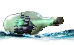 Bottled sailboat. A sailboat into a glass bottle navigating on the sea Stock Images