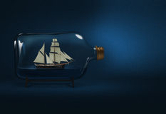 Bottled ship. Sailing ship sealed in a bottle Stock Photos
