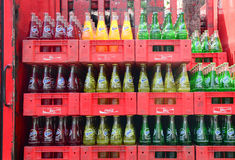Bottled soft drinks in a supermarket Royalty Free Stock Images