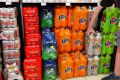 Bottled soft soda drinks Royalty Free Stock Photos
