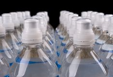 Bottled Water. Closeup image of a group of water bottles stock photography