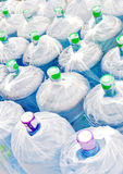 Bottled water. Closeup of plastic bottled water containers stock image