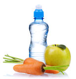 Bottled water. For healthy life over a white background royalty free stock image