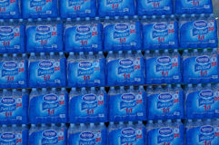 Bottled water. The Bottled water Brand Nestle Pure Life at front of TESCO LOTUS Express at Bangkok in Thailand royalty free stock photography