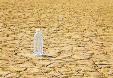 Bottled Water On Desert Playa. A single bottle of water is sitting on a desert playa Stock Image