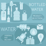 Bottled water flat design horizontal  banners Stock Images