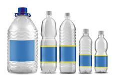 Bottled water in 5 sizes isolated. On white stock photos