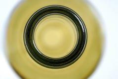 Bottleneck, bottle of wine, white wine. Studio shot, top view, aerial photography stock photo