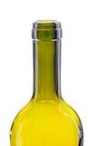 Bottleneck. Close-up on the bottleneck of a green glass bottle stock images