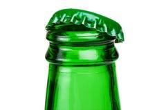 Bottleneck of green beer bottle over white background Stock Image