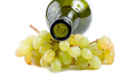 Bottleneck and green grapes Stock Photos