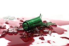 Bottleneck. With shards on wine stock photo