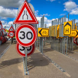 Bottleneck and speed limit sign Stock Image