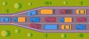 Bottleneck traffic jam. Road dence traffic on motorway or highway. Different car on road. Top view vector. Bottleneck traffic jam. Road dence traffic on vector illustration