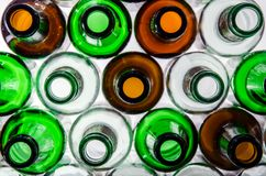 17.08 020. Bottlenecks of beer bottles stock photography