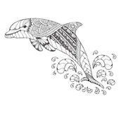 Bottlenose dolphin jumping high with splash. Zentangle and stipp Stock Photography