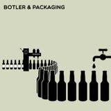 Bottler and packaging of bottles Stock Photo