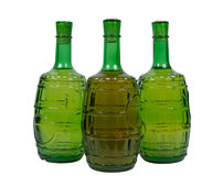 Bottles. Three bottles of white wine, isolated on white, clipping path included Stock Photos