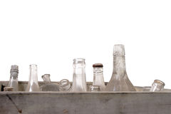 Bottles. An antique wooden case, with jars and bottles, covered with dust stock photos