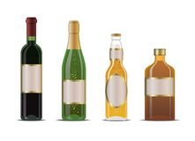 Bottles. Wine, champagne, beer and whiskey bottles Stock Photos