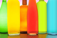Bottles. Of different colours in a bar of Spain Stock Image
