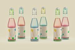Bottles. 3D render of bottles for party Royalty Free Stock Images