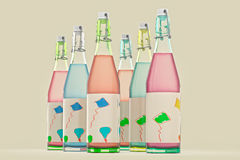 Bottles. 3D render of bottles for party Stock Photos