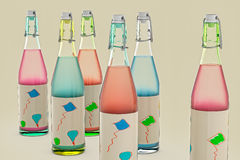 Bottles. 3D render of bottles for party Royalty Free Stock Photography