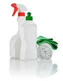 Bottles aand accesories for cleaning Royalty Free Stock Photos