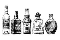 Bottles of alcohol. Distilled beverage. Vector set of bottles of alcohol in ink hand drawn style. isolated on white. Distilled beverage royalty free illustration