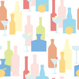 Bottles of alcohol and glasses with cocktail seamless vector background. Illustration in geometric style. Good for bar design or kitchen design Royalty Free Stock Images