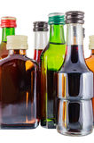 Bottles of alcohol. Isolated over a white background Royalty Free Stock Images