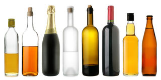 Bottles of alcoholic drinks royalty free stock image