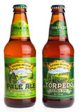Bottles of American Sierra Nevada Pale Ale and Torpedo Extra IPA. Beer isolated on a white background Stock Photography