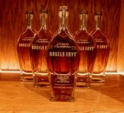 Bottles of Angels Envy. Several bottles of Angels Envy at the Angels Envy Distillery in Louisville, KY royalty free stock photography
